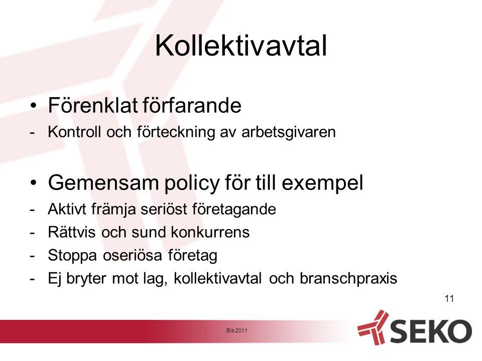Kollektivavtal •Förenklat förfarande -Kontroll och förteckning av arbetsgivaren •Gemensam policy för till exempel -Aktivt främja seriöst företagande -