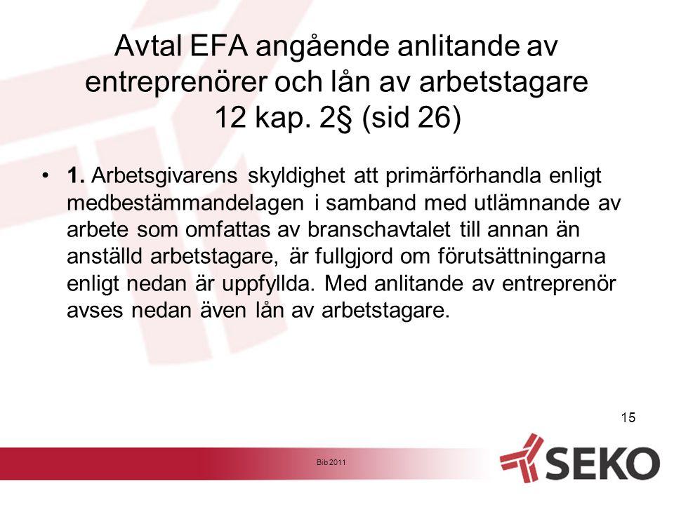 Avtal EFA angående anlitande av entreprenörer och lån av arbetstagare 12 kap. 2§ (sid 26) •1. Arbetsgivarens skyldighet att primärförhandla enligt med