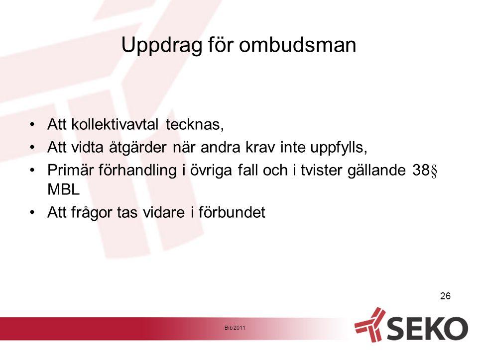 Uppdrag för ombudsman •Att kollektivavtal tecknas, •Att vidta åtgärder när andra krav inte uppfylls, •Primär förhandling i övriga fall och i tvister g