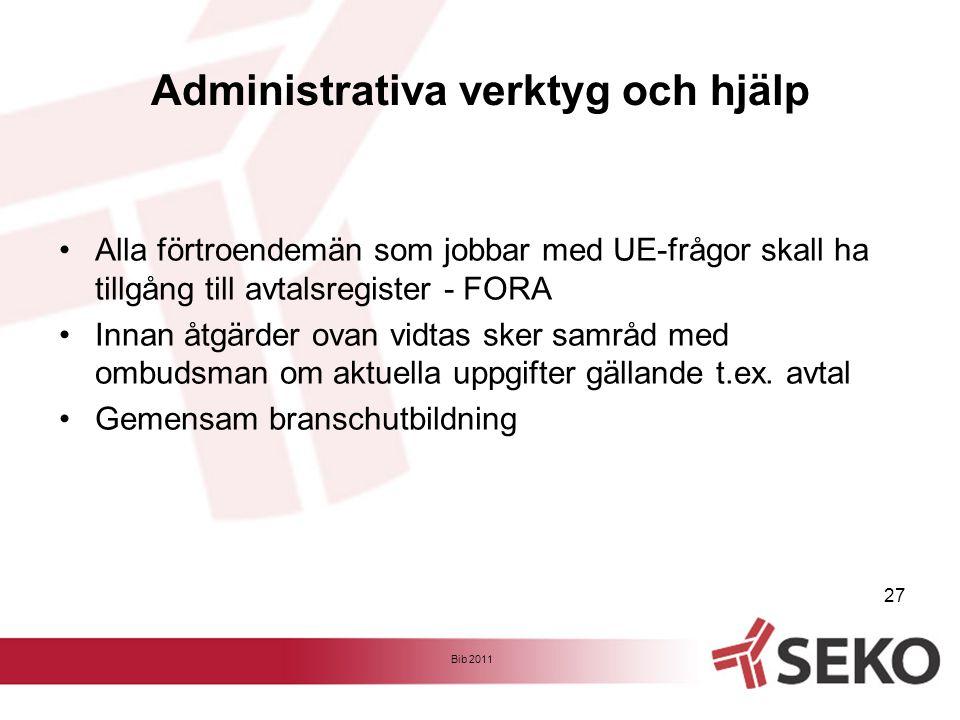 Administrativa verktyg och hjälp •Alla förtroendemän som jobbar med UE-frågor skall ha tillgång till avtalsregister - FORA •Innan åtgärder ovan vidtas