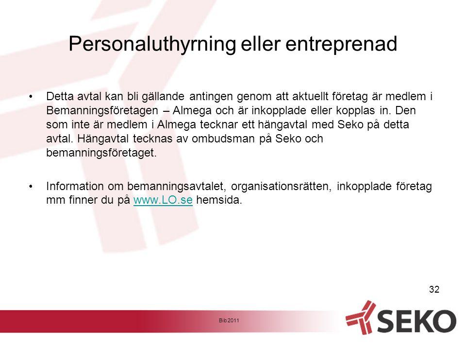 Personaluthyrning eller entreprenad •Detta avtal kan bli gällande antingen genom att aktuellt företag är medlem i Bemanningsföretagen – Almega och är