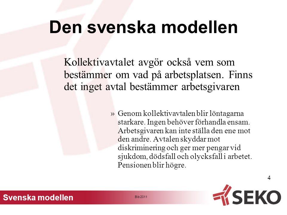 Bib 2011 5 Den svenska modellen Kollektivavtalet har fördelar för arbetsgivaren.