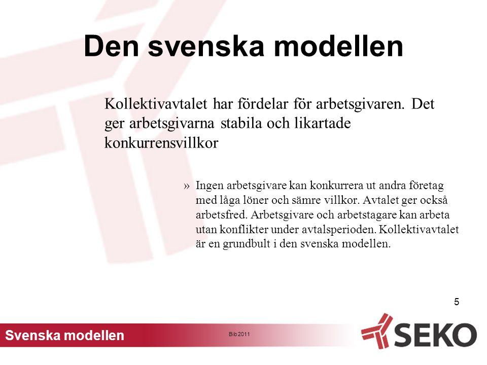 Bib 2011 6 Den svenska modellen För att principen om parternas rätt att bestämma villkoren på arbetsmarknaden ska fungera krävs det förhandlingsvilja »Om parterna misslyckas med att i förhandlingar anpassa kollektivavtalens bestämmelser till viktiga förändringar i samhället finns alltid en risk för politiska beslut som innebär reglering enligt lag.