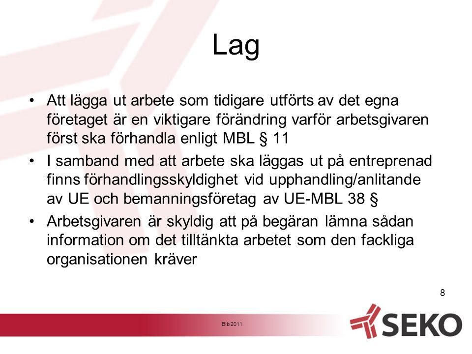 Uppföljning och kontroll av underentreprenörer Bib 2011 9