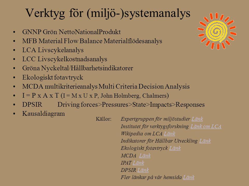 Verktyg för (miljö-)systemanalys •GNNP Grön NettoNationalProdukt •MFB Material Flow Balance Materialflödesanalys •LCA Livscykelanalys •LCC Livscykelko