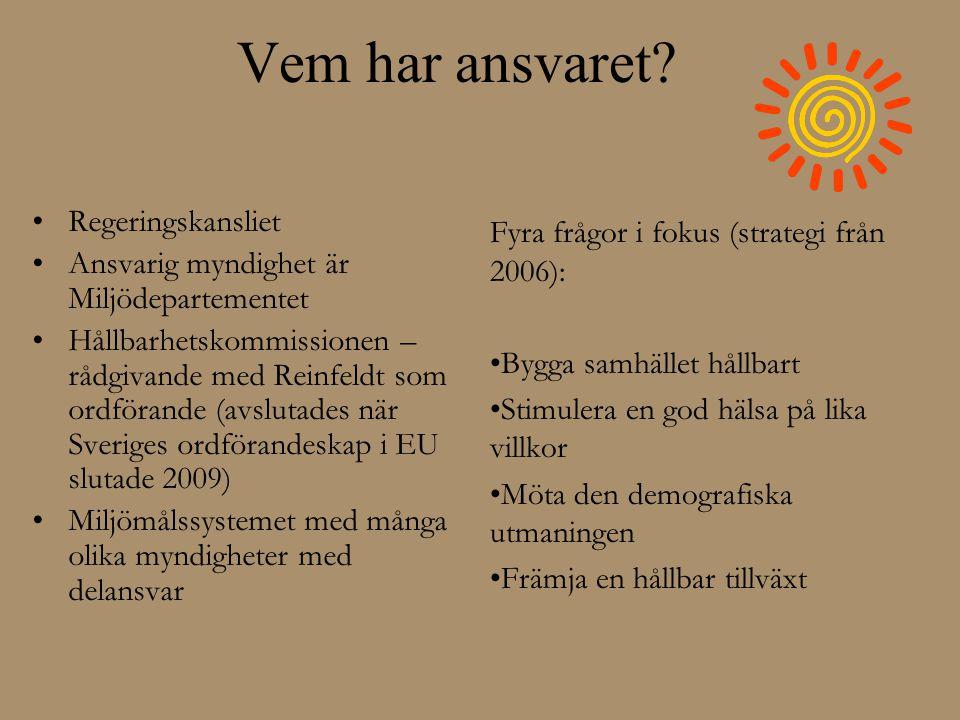 Vem har ansvaret? •Regeringskansliet •Ansvarig myndighet är Miljödepartementet •Hållbarhetskommissionen – rådgivande med Reinfeldt som ordförande (avs