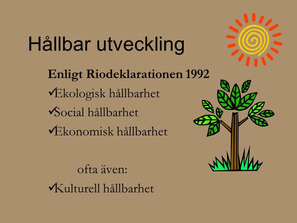 Hållbar utveckling Enligt Riodeklarationen 1992  Ekologisk hållbarhet  Social hållbarhet  Ekonomisk hållbarhet ofta även:  Kulturell hållbarhet