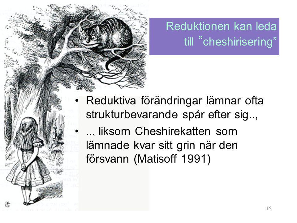 15 •Reduktiva förändringar lämnar ofta strukturbevarande spår efter sig.., •... liksom Cheshirekatten som lämnade kvar sitt grin när den försvann (Mat