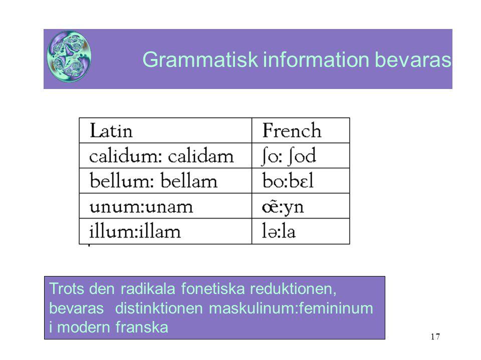 17 Grammatisk information bevaras Trots den radikala fonetiska reduktionen, bevaras distinktionen maskulinum:femininum i modern franska
