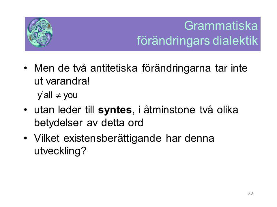 22 Grammatiska förändringars dialektik •Men de två antitetiska förändringarna tar inte ut varandra! y'all  you •utan leder till syntes, i åtminstone
