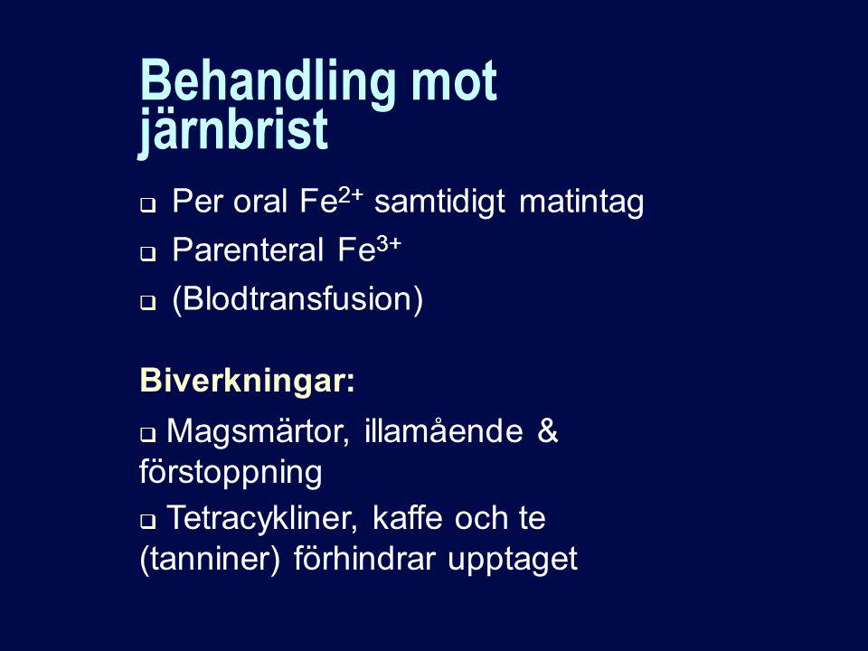 Behandling mot järnbrist  Per oral Fe 2+ samtidigt matintag  Parenteral Fe 3+  (Blodtransfusion) Biverkningar:  Magsmärtor, illamående & förstoppning  Tetracykliner, kaffe och te (tanniner) förhindrar upptaget