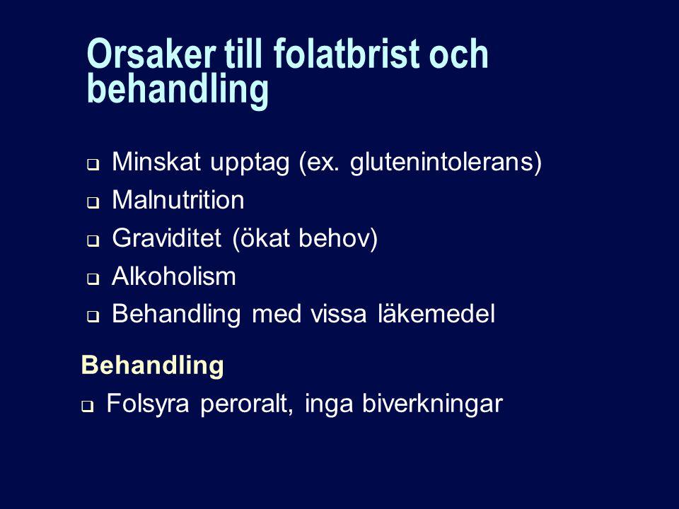 Orsaker till folatbrist och behandling  Minskat upptag (ex.