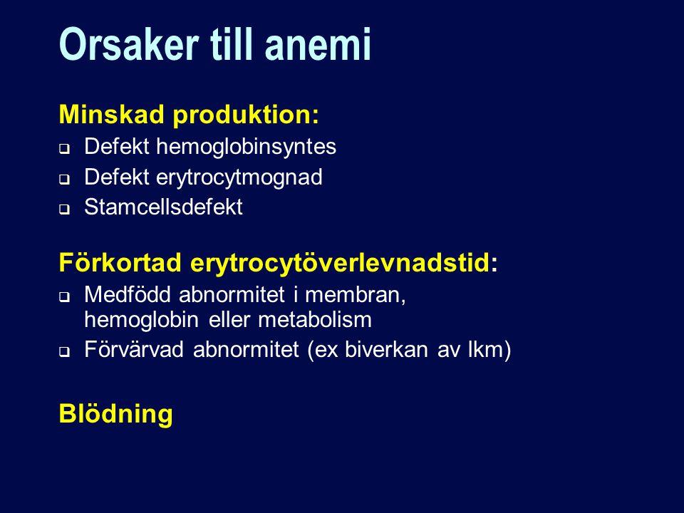 Orsaker till anemi Minskad produktion:  Defekt hemoglobinsyntes  Defekt erytrocytmognad  Stamcellsdefekt Förkortad erytrocytöverlevnadstid:  Medfödd abnormitet i membran, hemoglobin eller metabolism  Förvärvad abnormitet (ex biverkan av lkm) Blödning