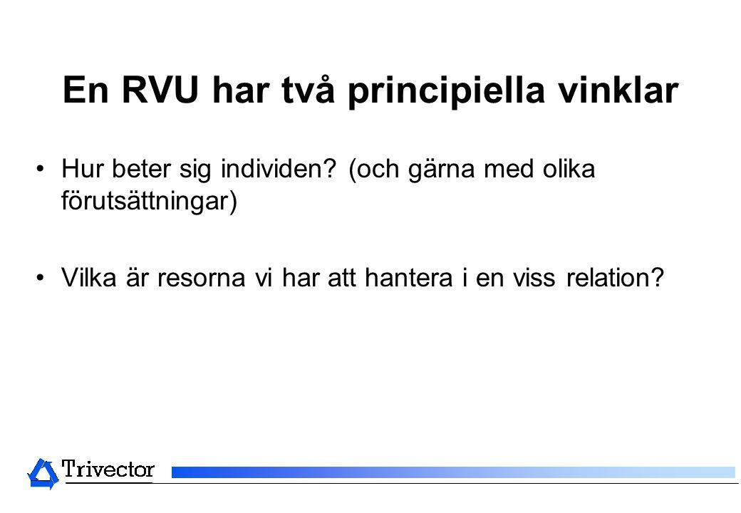 En RVU har två principiella vinklar •Hur beter sig individen? (och gärna med olika förutsättningar) •Vilka är resorna vi har att hantera i en viss rel