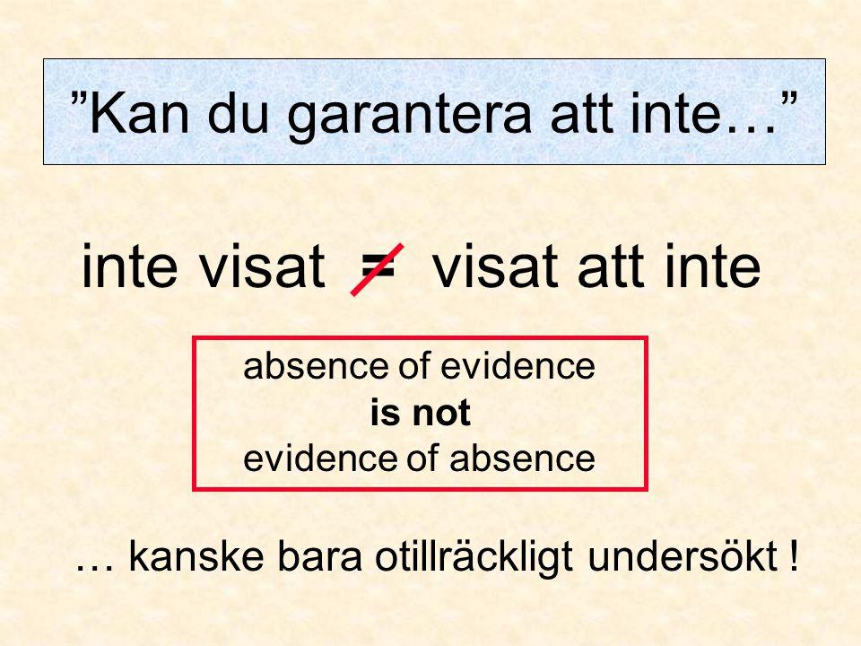 """inte visat = visat att inte """"Kan du garantera att inte…"""" … kanske bara otillräckligt undersökt ! absence of evidence is not evidence of absence"""
