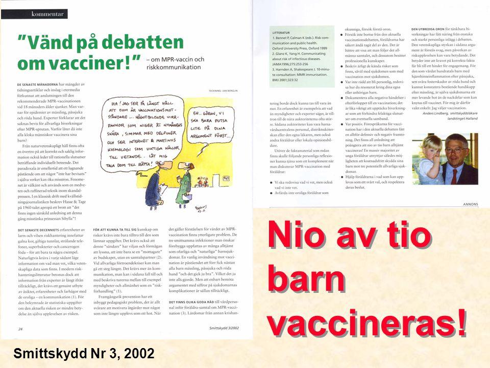 Risk: sjukdomskomplikationer Mässling5-9 % otit 1-7 % pneumoni 0,1% encefalit Påssjuka4-6 % meningoencefalit (50% CSF) 35% orkit (vuxna män) Röda hundfetopati om tidigt i graviditet (2/3 skadade om inf.