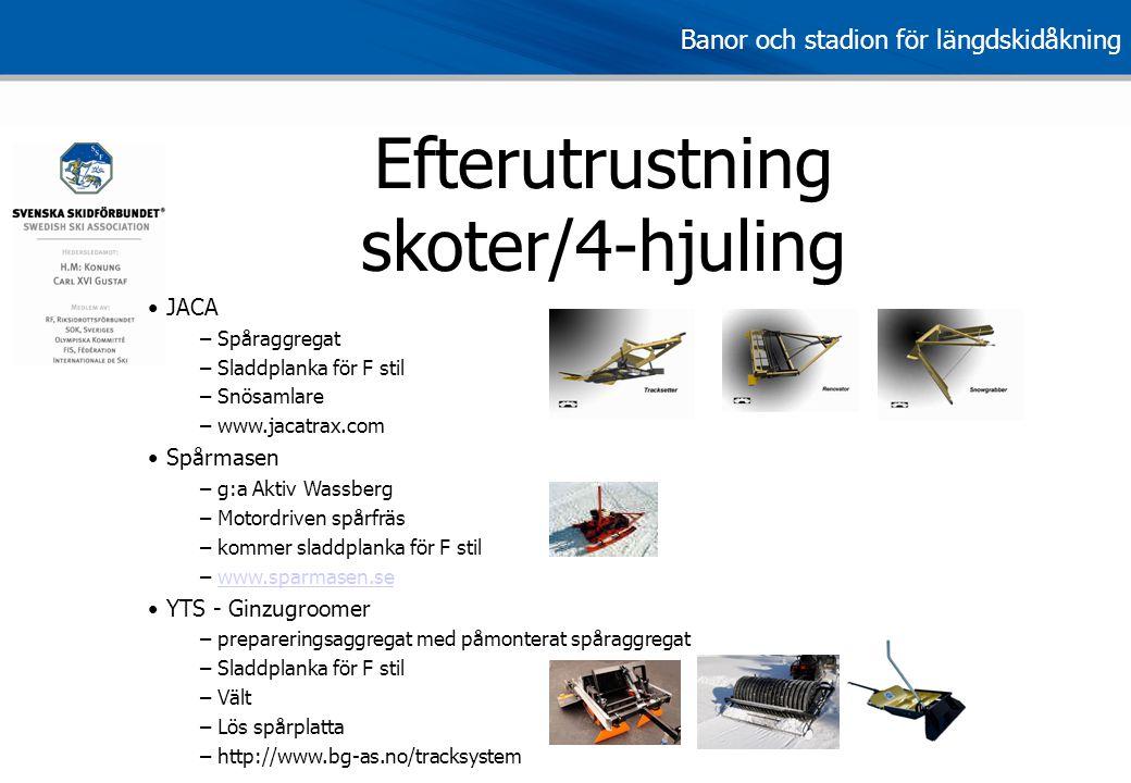 Banor och stadion för längdskidåkning Efterutrustning skoter/4-hjuling • JACA – Spåraggregat – Sladdplanka för F stil – Snösamlare – www.jacatrax.com