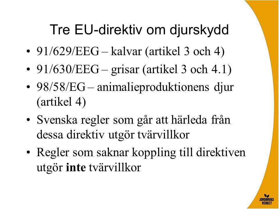 Tre EU-direktiv om djurskydd •91/629/EEG – kalvar (artikel 3 och 4) •91/630/EEG – grisar (artikel 3 och 4.1) •98/58/EG – animalieproduktionens djur (artikel 4) •Svenska regler som går att härleda från dessa direktiv utgör tvärvillkor •Regler som saknar koppling till direktiven utgör inte tvärvillkor