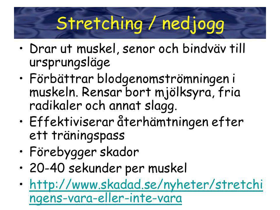Stretching •Drar ut muskel, senor och bindväv till ursprungsläge •Förbättrar blodgenomströmningen i muskeln. Rensar bort mjölksyra, fria radikaler och