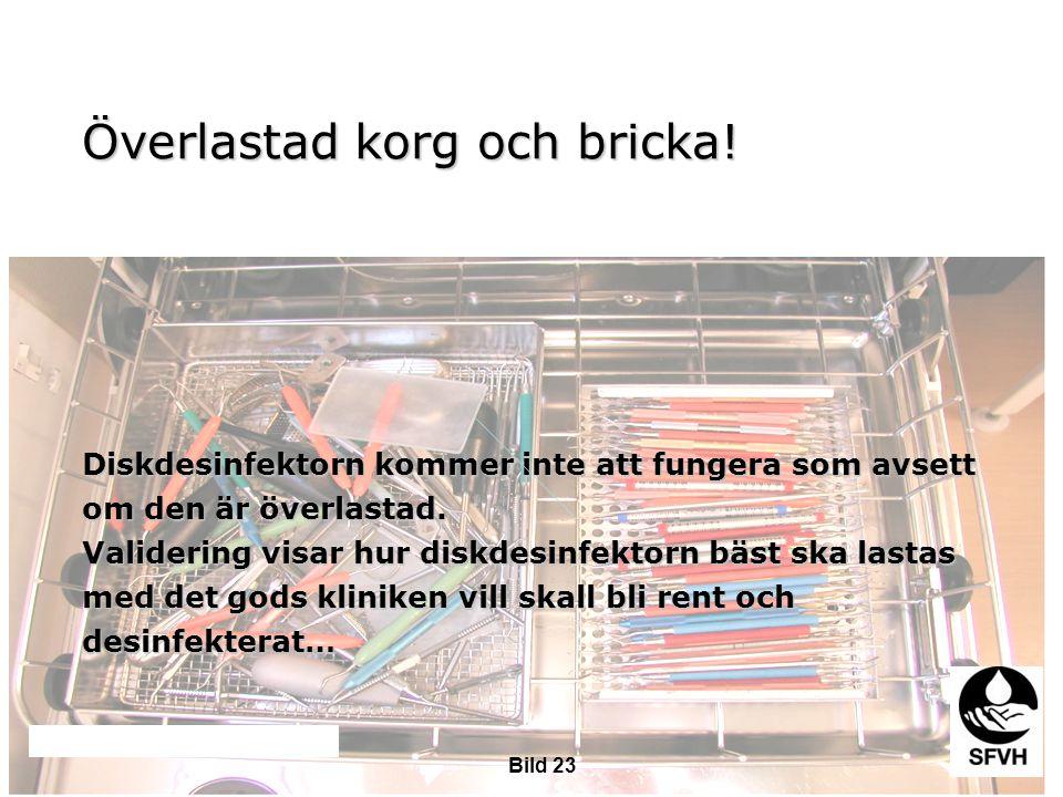 SODA februari 2009 Överlastad korg och bricka! Diskdesinfektorn kommer inte att fungera som avsett om den är överlastad. Validering visar hur diskdesi