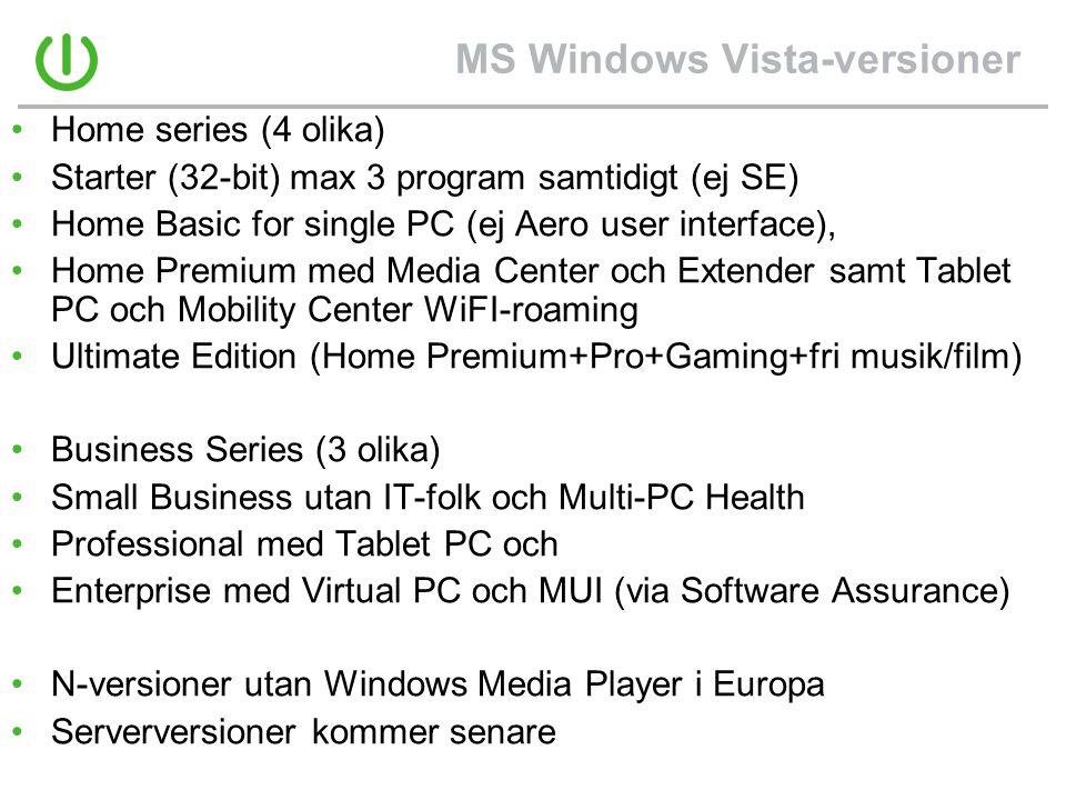 MS Windows Vista-versioner •Home series (4 olika) •Starter (32-bit) max 3 program samtidigt (ej SE) •Home Basic for single PC (ej Aero user interface), •Home Premium med Media Center och Extender samt Tablet PC och Mobility Center WiFI-roaming •Ultimate Edition (Home Premium+Pro+Gaming+fri musik/film) •Business Series (3 olika) •Small Business utan IT-folk och Multi-PC Health •Professional med Tablet PC och •Enterprise med Virtual PC och MUI (via Software Assurance) •N-versioner utan Windows Media Player i Europa •Serverversioner kommer senare