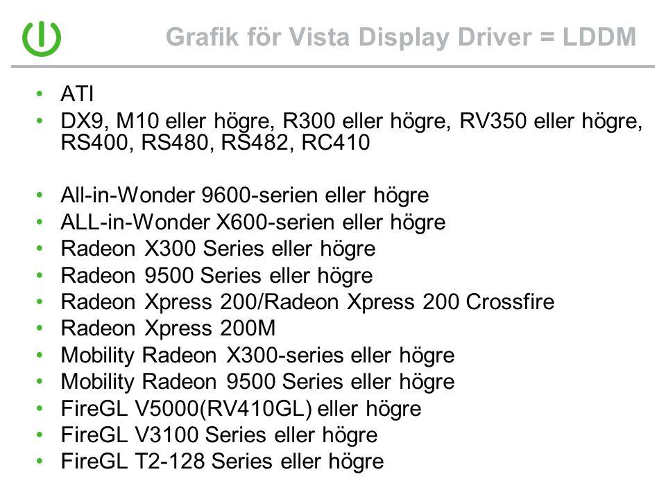 Grafik för Vista Display Driver = LDDM •ATI •DX9, M10 eller högre, R300 eller högre, RV350 eller högre, RS400, RS480, RS482, RC410 •All-in-Wonder 9600-serien eller högre •ALL-in-Wonder X600-serien eller högre •Radeon X300 Series eller högre •Radeon 9500 Series eller högre •Radeon Xpress 200/Radeon Xpress 200 Crossfire •Radeon Xpress 200M •Mobility Radeon X300-series eller högre •Mobility Radeon 9500 Series eller högre •FireGL V5000(RV410GL) eller högre •FireGL V3100 Series eller högre •FireGL T2-128 Series eller högre