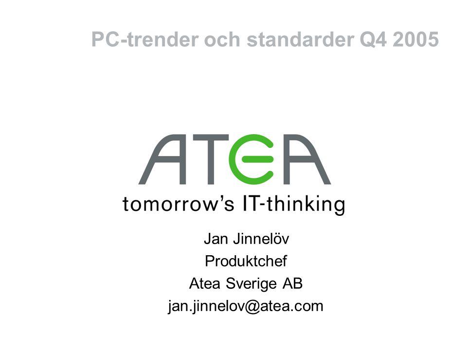 PC-trender och standarder Q4 2005 Jan Jinnelöv Produktchef Atea Sverige AB jan.jinnelov@atea.com