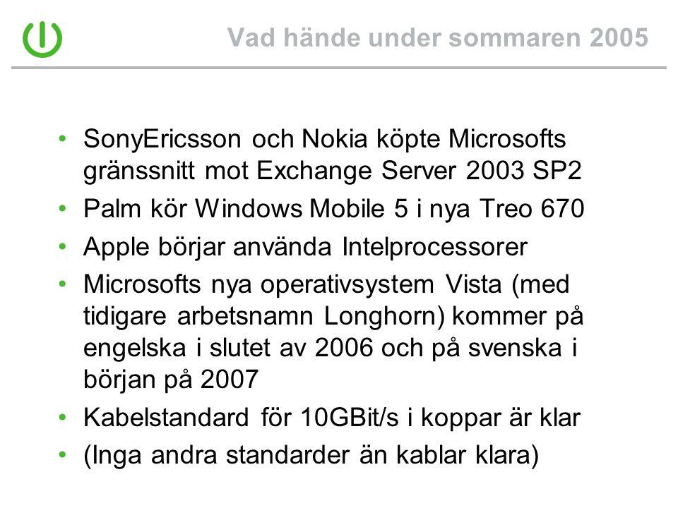 Vad hände under sommaren 2005 •SonyEricsson och Nokia köpte Microsofts gränssnitt mot Exchange Server 2003 SP2 •Palm kör Windows Mobile 5 i nya Treo 670 •Apple börjar använda Intelprocessorer •Microsofts nya operativsystem Vista (med tidigare arbetsnamn Longhorn) kommer på engelska i slutet av 2006 och på svenska i början på 2007 •Kabelstandard för 10GBit/s i koppar är klar •(Inga andra standarder än kablar klara)