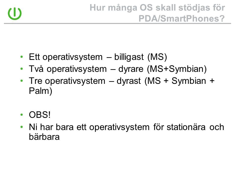 Hur många OS skall stödjas för PDA/SmartPhones? •Ett operativsystem – billigast (MS) •Två operativsystem – dyrare (MS+Symbian) •Tre operativsystem – d