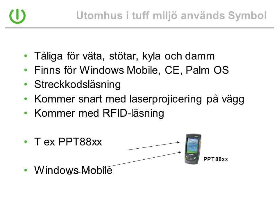 Utomhus i tuff miljö används Symbol •Tåliga för väta, stötar, kyla och damm •Finns för Windows Mobile, CE, Palm OS •Streckkodsläsning •Kommer snart me