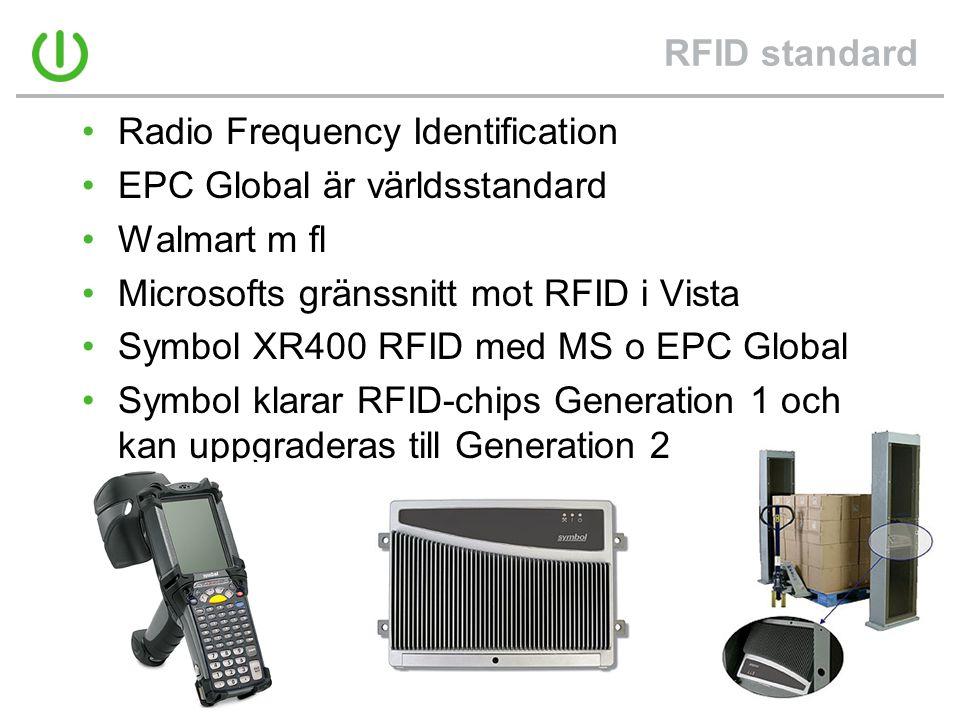 RFID standard •Radio Frequency Identification •EPC Global är världsstandard •Walmart m fl •Microsofts gränssnitt mot RFID i Vista •Symbol XR400 RFID med MS o EPC Global •Symbol klarar RFID-chips Generation 1 och kan uppgraderas till Generation 2