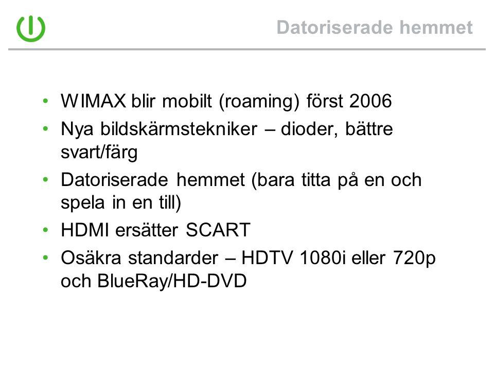 Datoriserade hemmet •WIMAX blir mobilt (roaming) först 2006 •Nya bildskärmstekniker – dioder, bättre svart/färg •Datoriserade hemmet (bara titta på en och spela in en till) •HDMI ersätter SCART •Osäkra standarder – HDTV 1080i eller 720p och BlueRay/HD-DVD