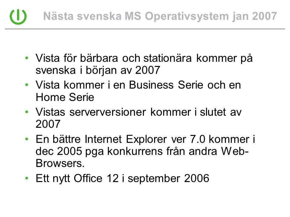 Nästa svenska MS Operativsystem jan 2007 •Vista för bärbara och stationära kommer på svenska i början av 2007 •Vista kommer i en Business Serie och en Home Serie •Vistas serverversioner kommer i slutet av 2007 •En bättre Internet Explorer ver 7.0 kommer i dec 2005 pga konkurrens från andra Web- Browsers.