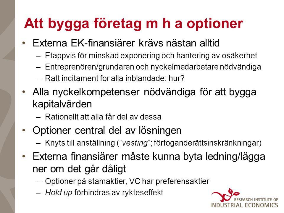 Att bygga företag m h a optioner •Externa EK-finansiärer krävs nästan alltid –Etappvis för minskad exponering och hantering av osäkerhet –Entreprenören/grundaren och nyckelmedarbetare nödvändiga –Rätt incitament för alla inblandade: hur.