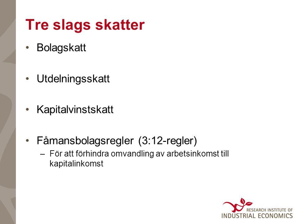 Förutsättningarna i Sverige forts.