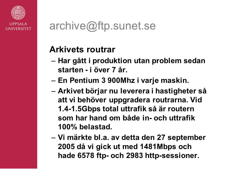 archive@ftp.sunet.se Arkivets routrar –Har gått i produktion utan problem sedan starten - i över 7 år.