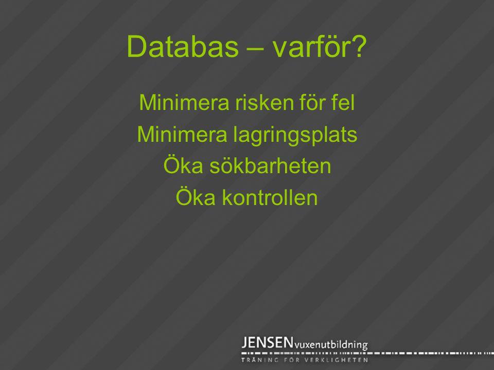 Databas – varför? Minimera risken för fel Minimera lagringsplats Öka sökbarheten Öka kontrollen