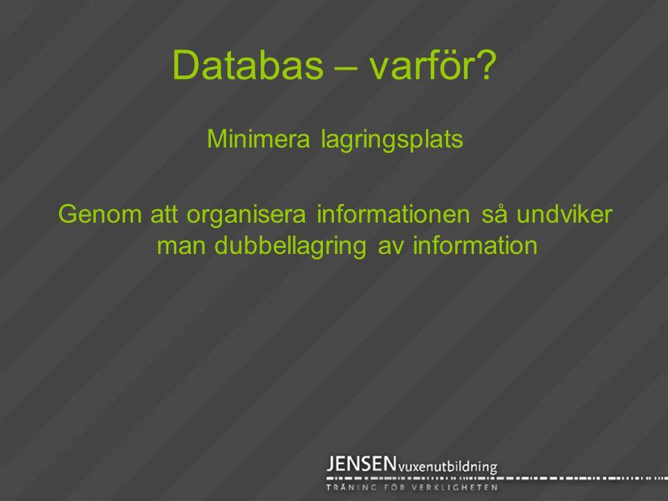 Databas – varför? Minimera lagringsplats Genom att organisera informationen så undviker man dubbellagring av information