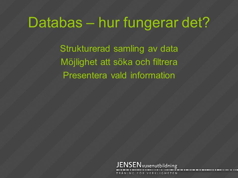 Databas – hur fungerar det? Strukturerad samling av data Möjlighet att söka och filtrera Presentera vald information
