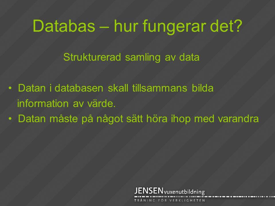 Databas – hur fungerar det? Strukturerad samling av data • Datan i databasen skall tillsammans bilda information av värde. • Datan måste på något sätt