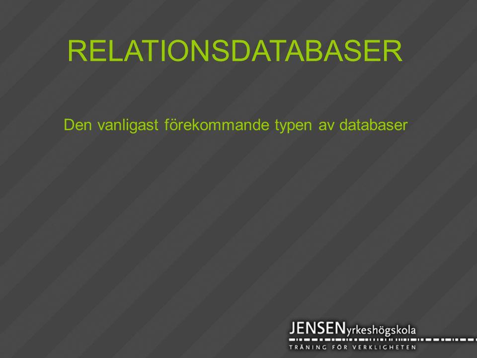 Den vanligast förekommande typen av databaser