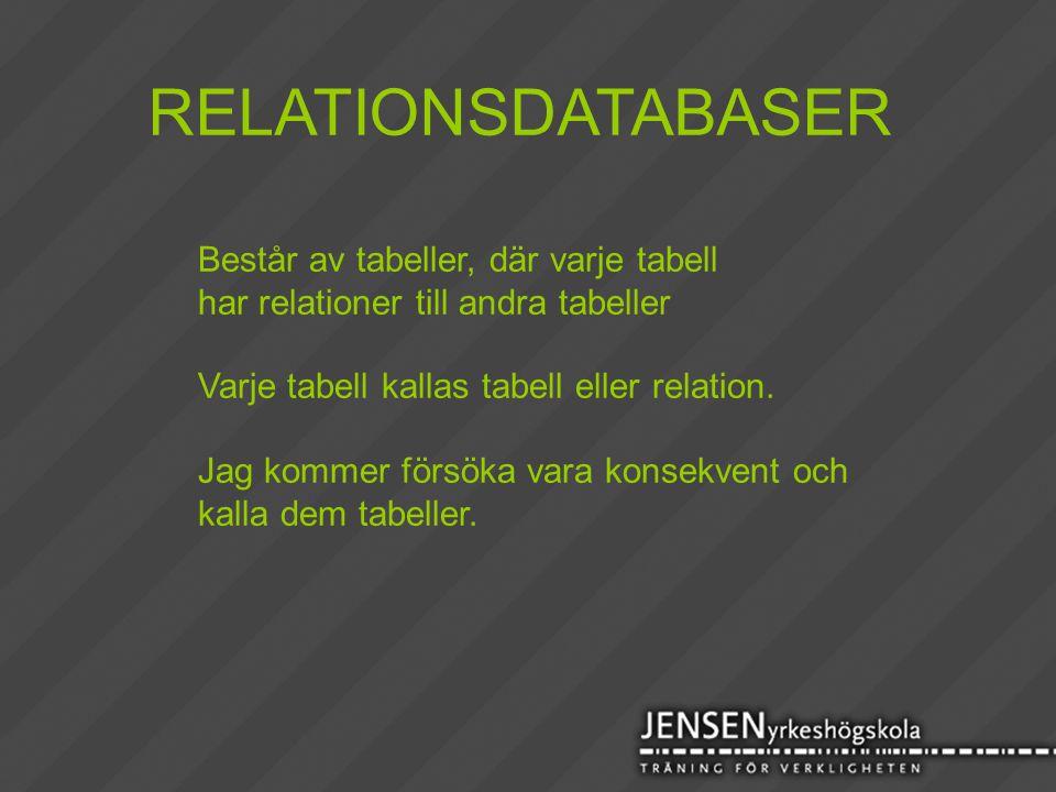 RELATIONSDATABASER Består av tabeller, där varje tabell har relationer till andra tabeller Varje tabell kallas tabell eller relation. Jag kommer försö