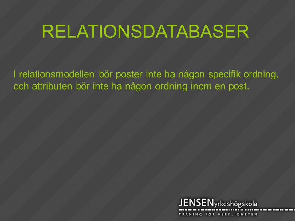 RELATIONSDATABASER I relationsmodellen bör poster inte ha någon specifik ordning, och attributen bör inte ha någon ordning inom en post.