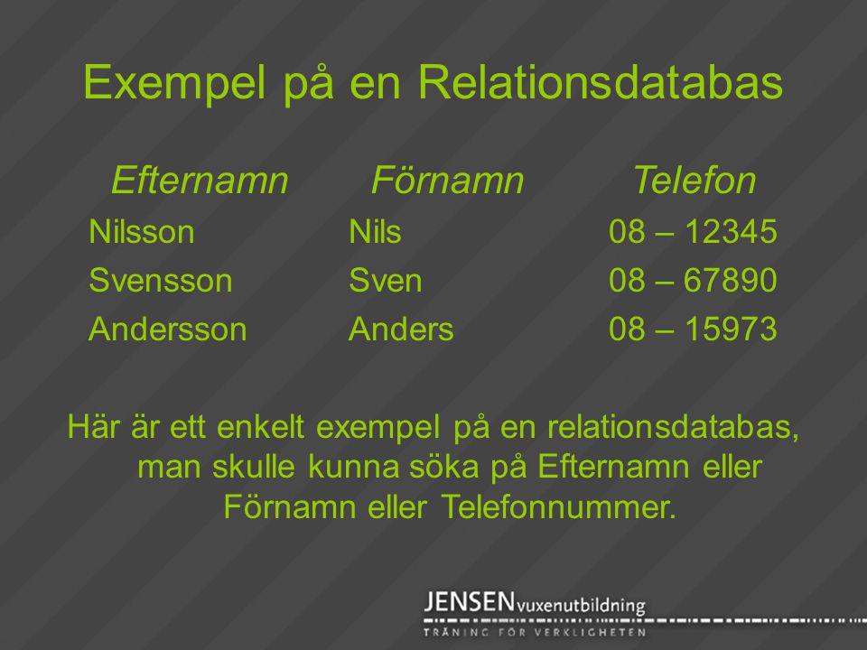 Exempel på en Relationsdatabas EfternamnFörnamnTelefon NilssonNils08 – 12345 SvenssonSven08 – 67890 AnderssonAnders08 – 15973 Här är ett enkelt exempe