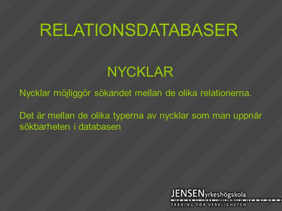 RELATIONSDATABASER NYCKLAR Nycklar möjliggör sökandet mellan de olika relationerna. Det är mellan de olika typerna av nycklar som man uppnår sökbarhet
