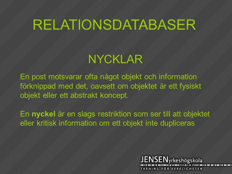 RELATIONSDATABASER NYCKLAR En post motsvarar ofta något objekt och information förknippad med det, oavsett om objektet är ett fysiskt objekt eller ett