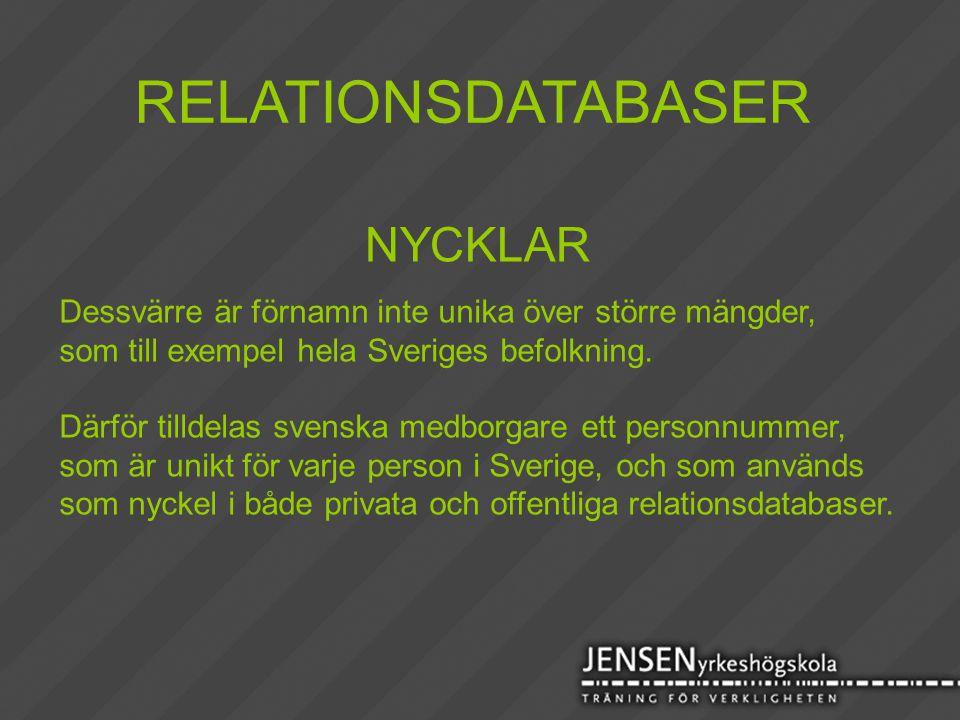 RELATIONSDATABASER NYCKLAR Dessvärre är förnamn inte unika över större mängder, som till exempel hela Sveriges befolkning. Därför tilldelas svenska me