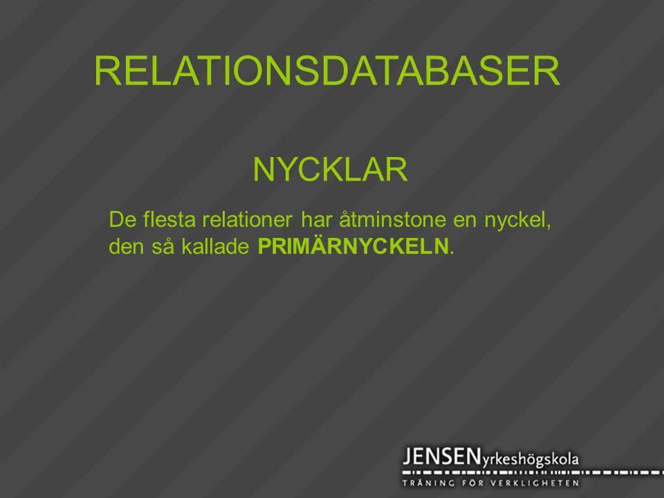 RELATIONSDATABASER NYCKLAR De flesta relationer har åtminstone en nyckel, den så kallade PRIMÄRNYCKELN.