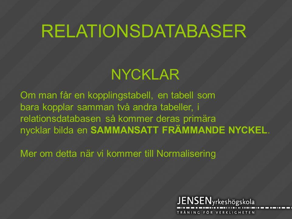 RELATIONSDATABASER NYCKLAR Om man får en kopplingstabell, en tabell som bara kopplar samman två andra tabeller, i relationsdatabasen så kommer deras p