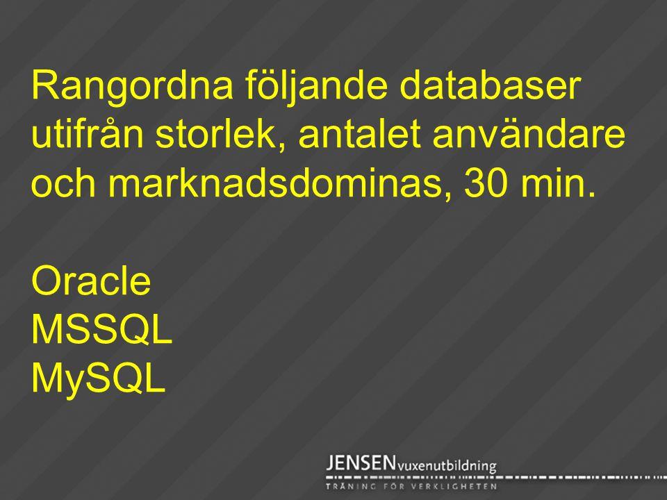 Rangordna följande databaser utifrån storlek, antalet användare och marknadsdominas, 30 min. Oracle MSSQL MySQL